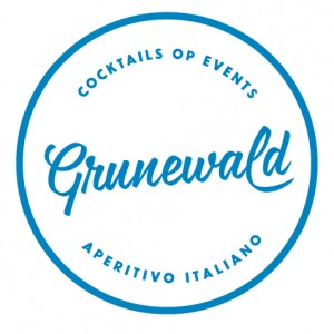 Grunewald Logo met vermelding cocktail workshop, cocktailbar op event en Aperitivo Italiano.